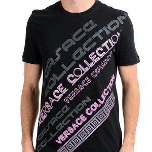Versace Collection Black Graphic Crewneck T-Shirt